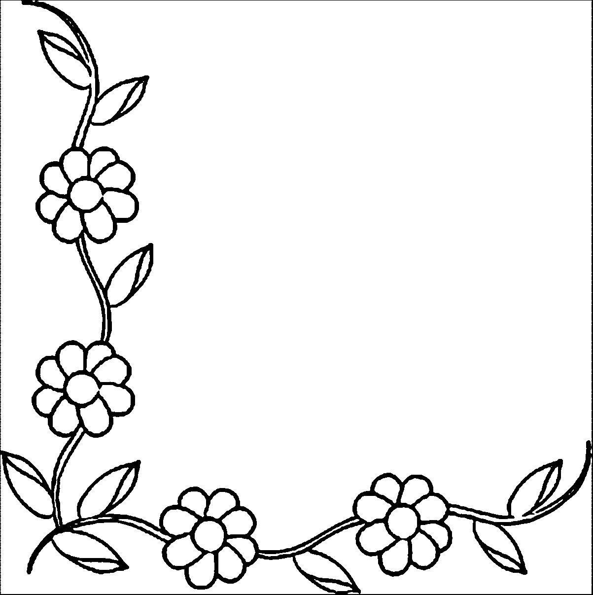 1203x1207 Coloring Pages Flower Borders Coloring Page Fun