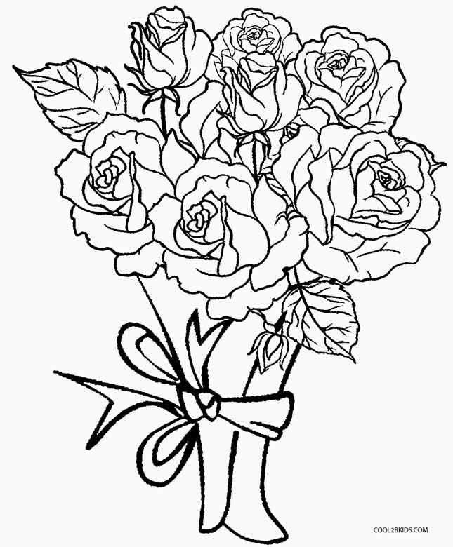 645x780 Flower Bouquet Coloring Pages Kids