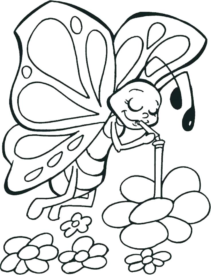 736x960 Coloring Pages Of Flowers And Butterflies The Pages Coloring Pages