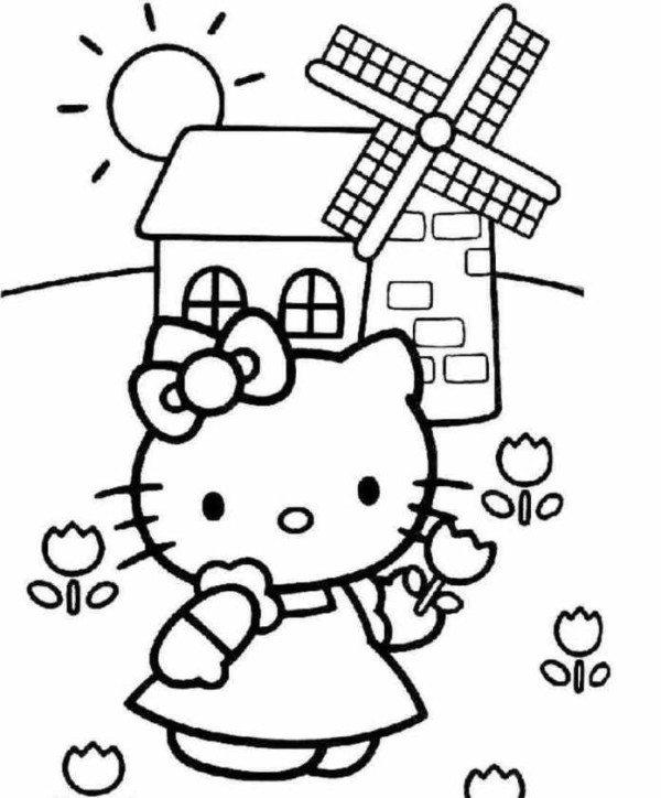 600x724 Hello Kitty Flower On Farm Coloring Pages