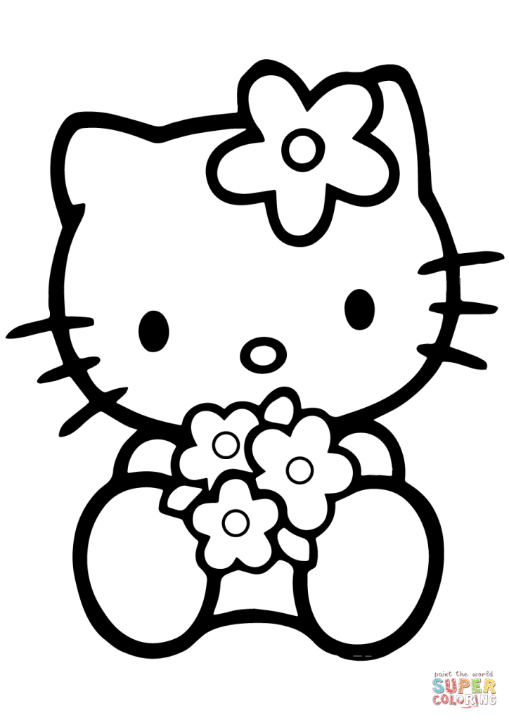 724x1024 Hello Kitty With Flowers Cartoon Coloring Page