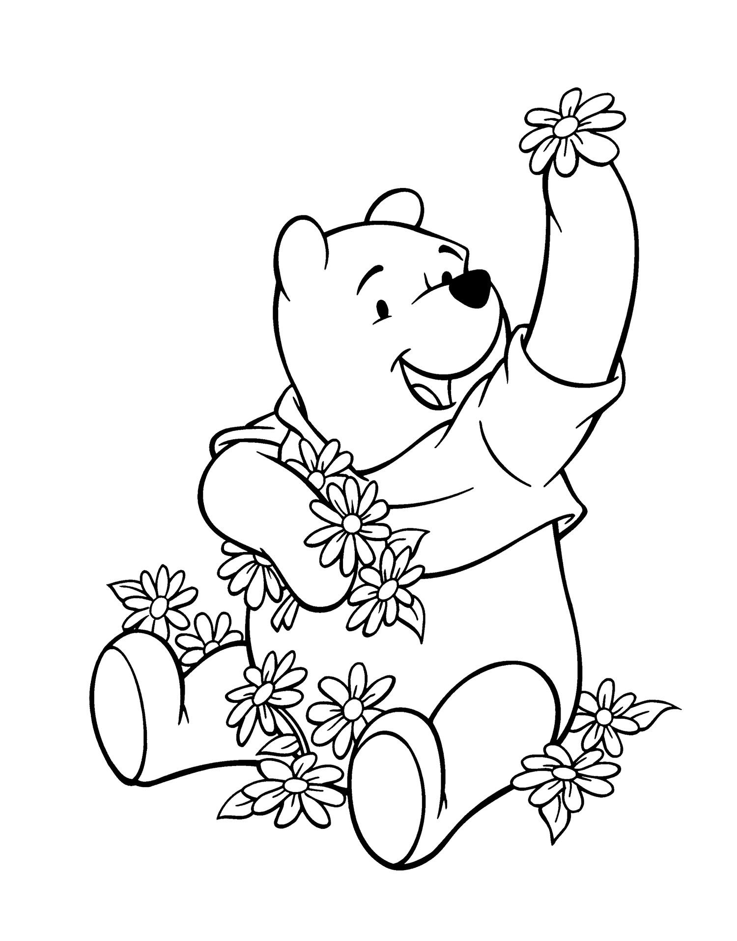 1500x1913 Winnie Pooh And Many Flowers Coloring Page Winnie