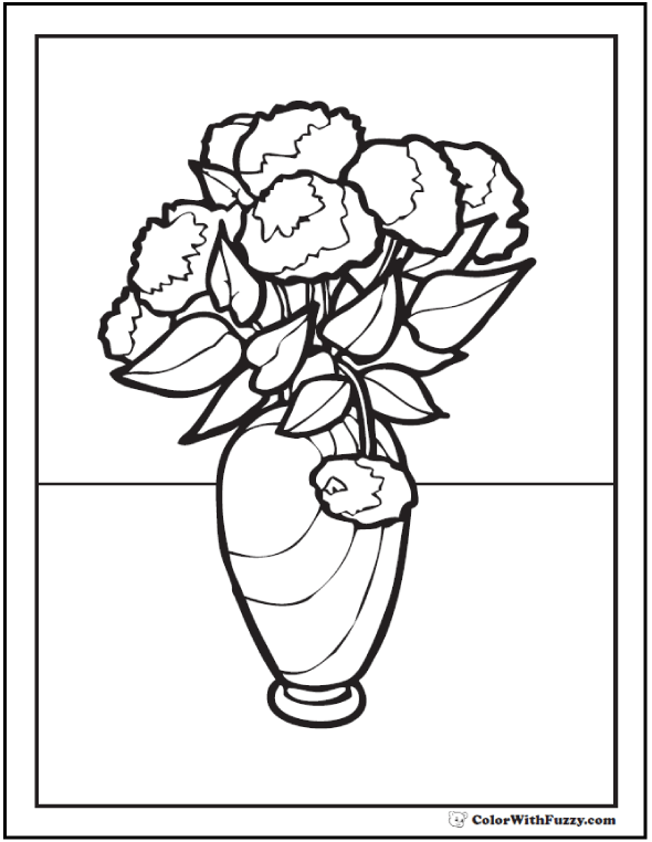 Flower Clip Art Coloring Pages