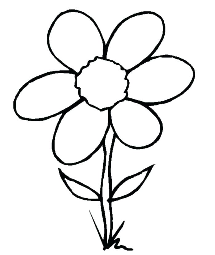 699x828 Easy Coloring Pages Flowers Flower Simple Drawing Worm Line Clip