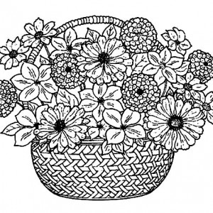 300x300 Put Spring Flowers In Basket Of Flowers Coloring Pages Best