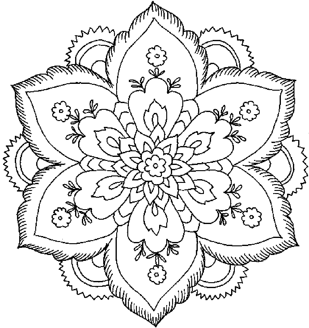 1000x1060 Detailed Flower Coloring Pages