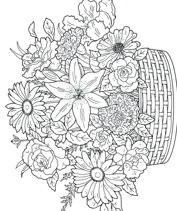736x875 Flower Coloring Pages Printable For Adults