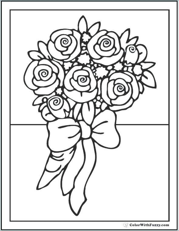 590x762 Simple Flower Coloring Pages Adult Coloring Pages Customize