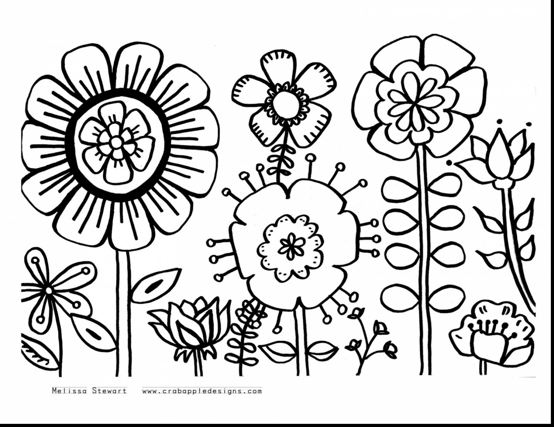 Spring Flowers Coloring Pages To Print Pdf | 1357x1760