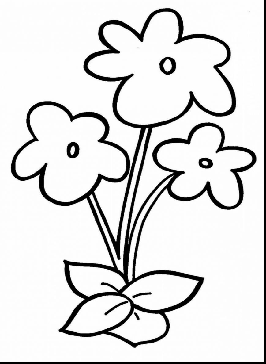 869x1187 Flower Coloring Pages Printable For Preschool Brilliant Image