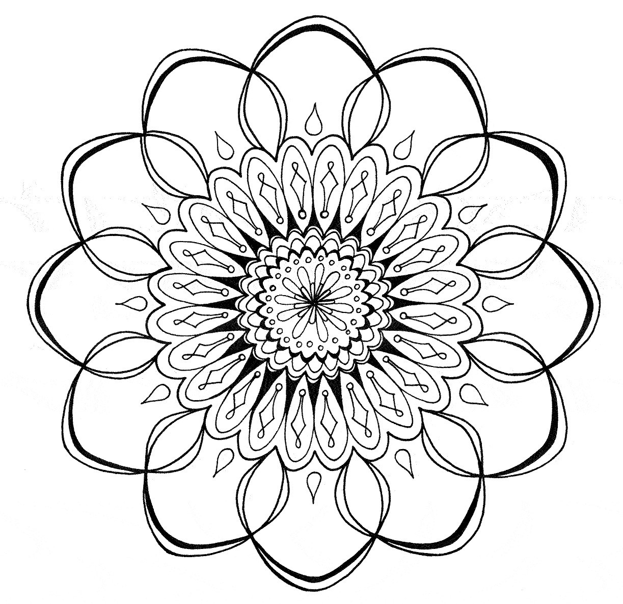 1223x1185 Cool Flower Coloring Pages