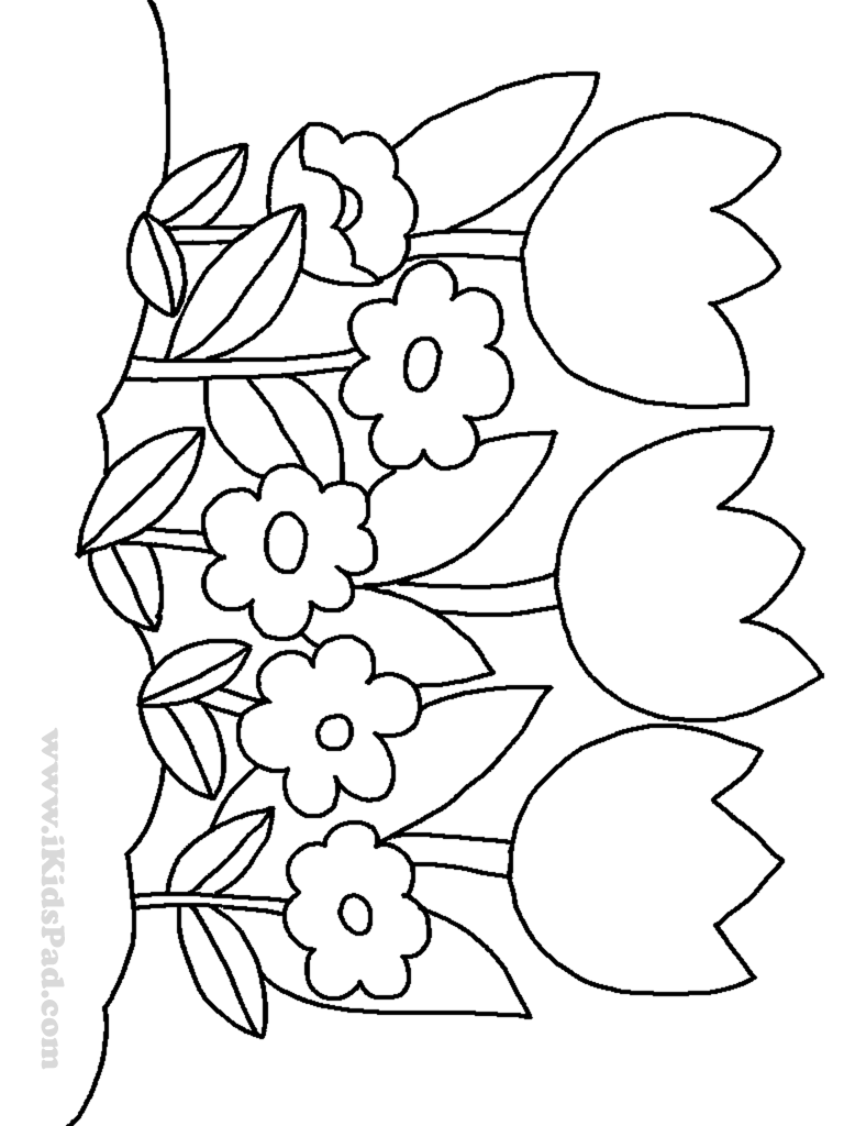 768x1024 Row Of Tulip Flowers Coloring Pages For Kids Coloring Pages