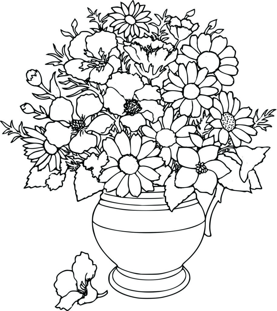 914x1024 Flower Coloring Page Printable Tulips Pages Watercolor