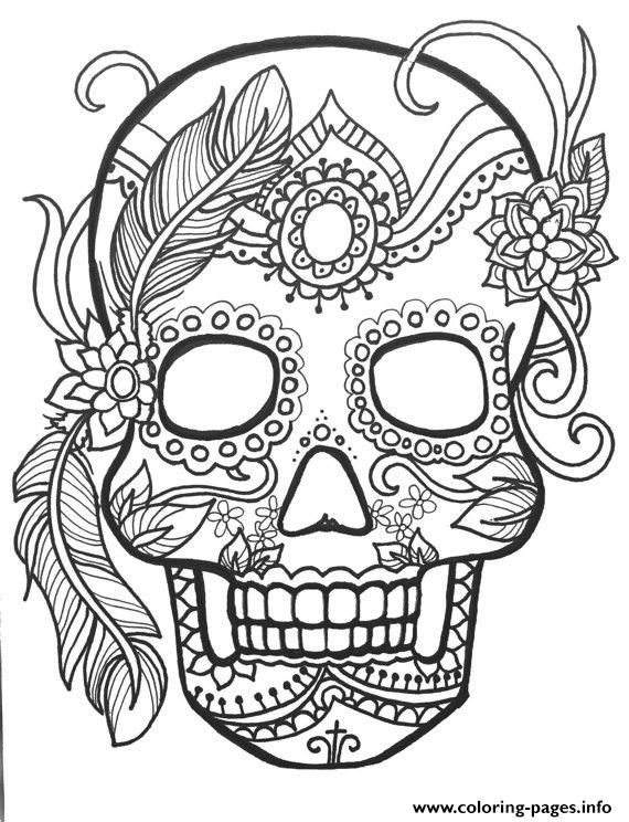 570x744 Sugar Skull Adult Flower Coloring Pages Printable