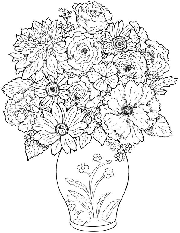 597x770 Adult Flower Coloring Pages Printable Printable Coloring Pages