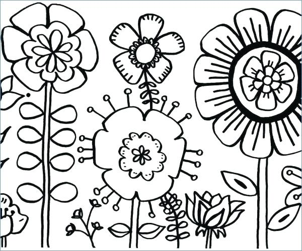 600x500 Coloring Pages Of Roses Easy Flower Coloring Pages Coloring Roses