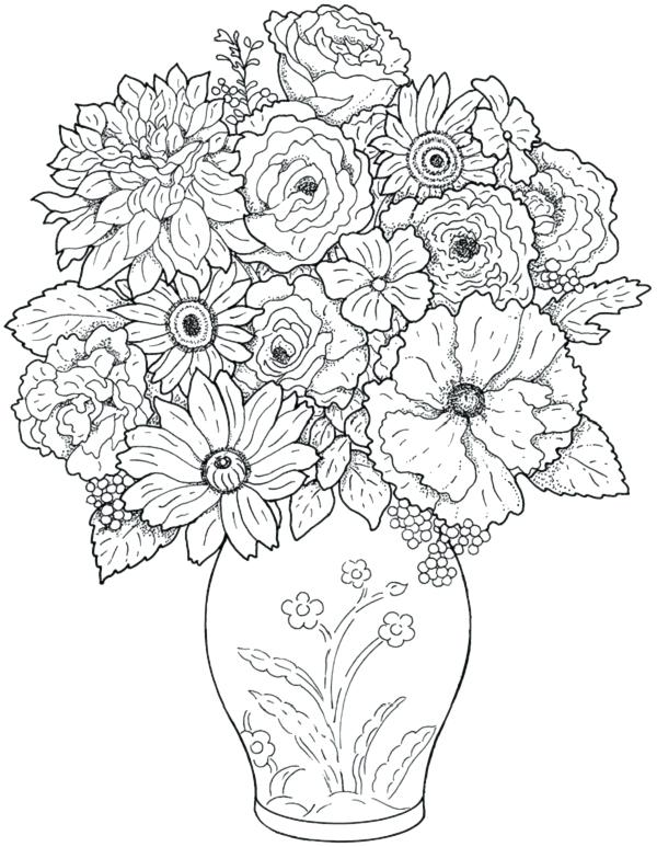 600x773 Flowers Pictures To Color And Print Out Kids Coloring Hard Flower