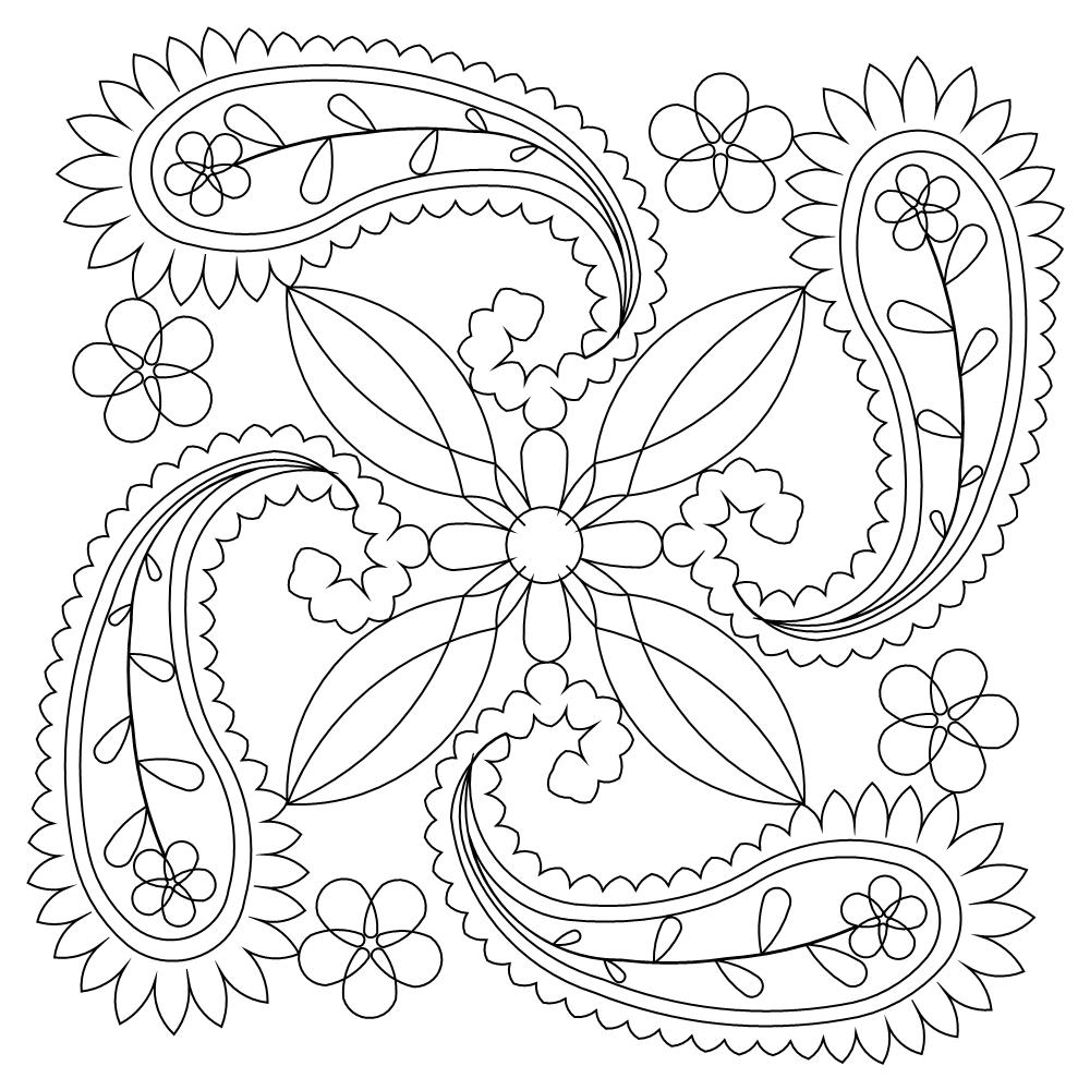 1000x1000 Easy Paisley Coloring Pages