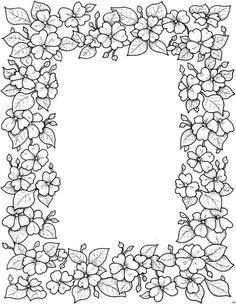 236x304 Floral Border Kleurpboek Coloring Page Book