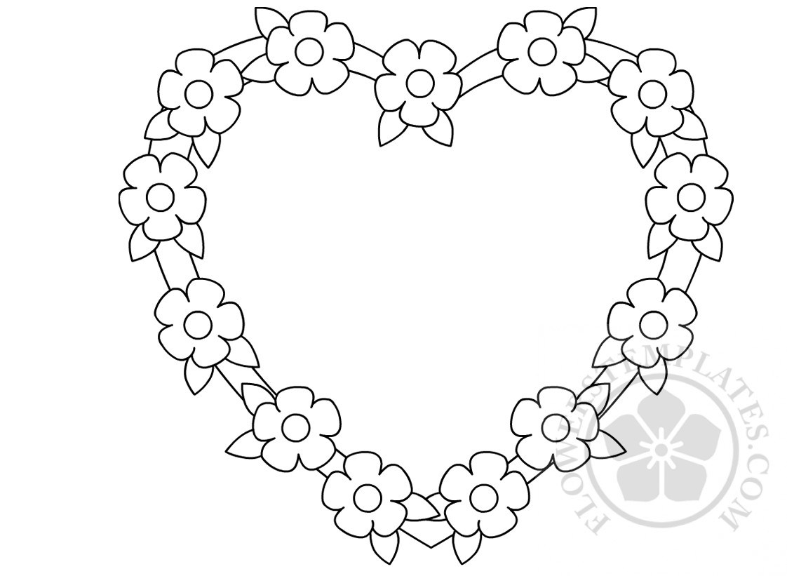 1122x821 Flower Heart Frame Coloring Page Flowers Templates