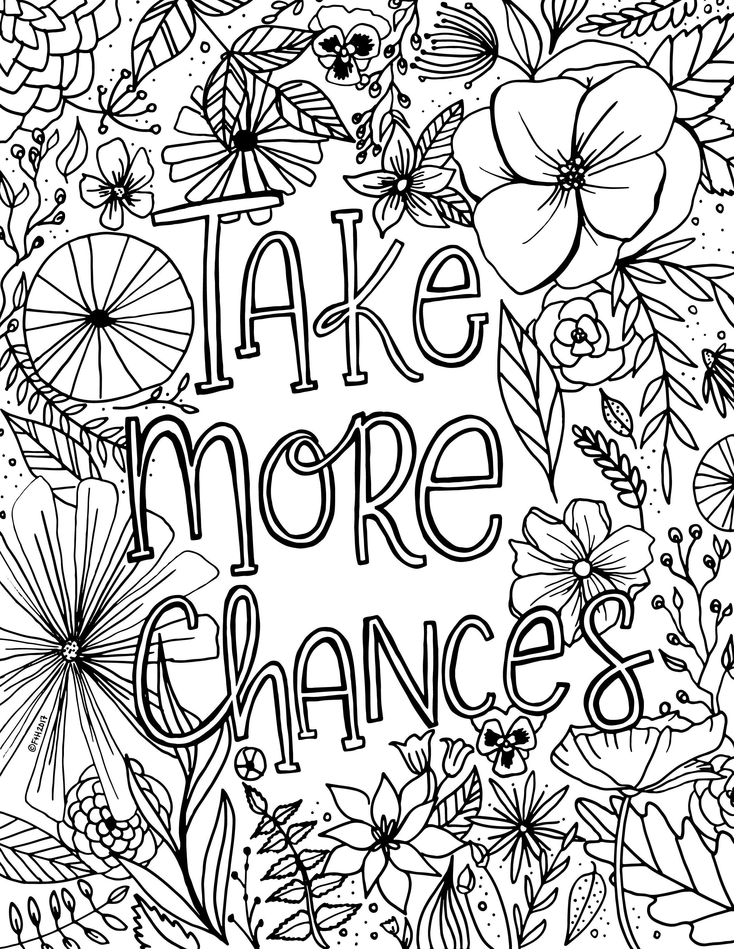 2550x3300 Free Encouragement Flower Coloring Page Printable Fox + Hazel