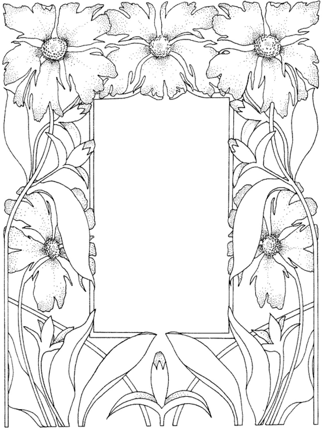 1125x1500 Free Coloring Page Coloring Adult Flowered Framework Flowered
