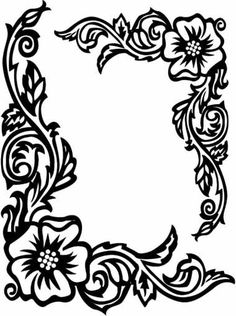 236x316 Page Border Designs Flowers Black And White Collection