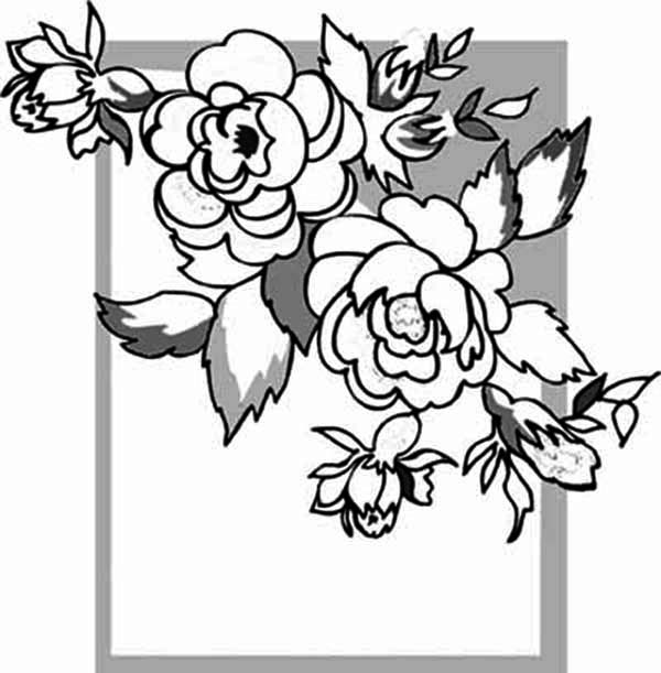 600x611 Rose Picture Frame Coloring Page