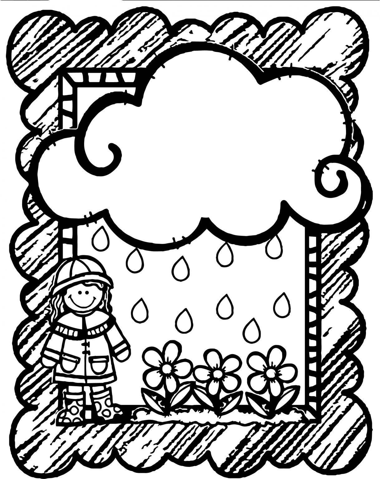 1219x1539 Appealing Shower Girl Flower Cloud Frame Coloring Page