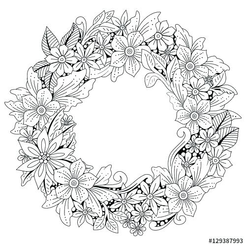 500x500 Art Coloring Page Wreath Coloring Pages Wreath Of Flowers