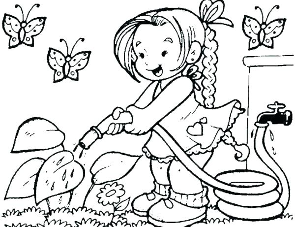 600x461 Garden Coloring Page Coloring Pages Of Little Girls Garden