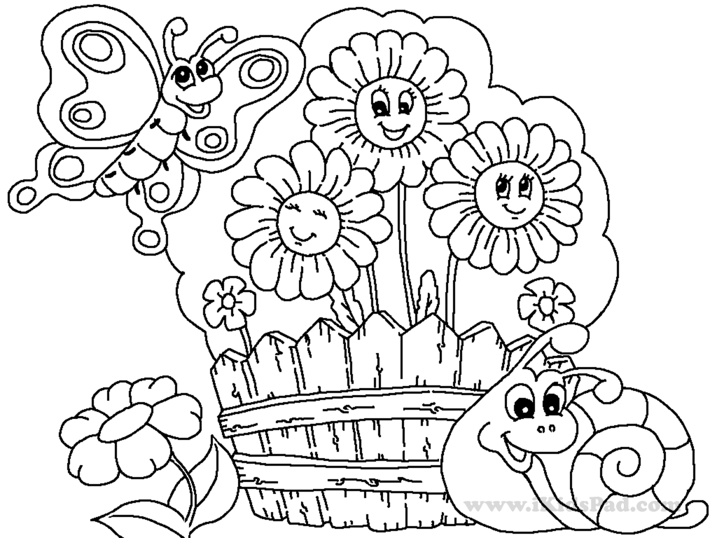 1024x768 Simple Garden Coloring Pages