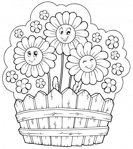 456x510 Coloring Page Of Flower Garden
