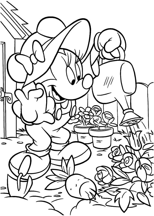 600x840 Minnie Mouse Working In The Garden Coloring Pages Color Luna