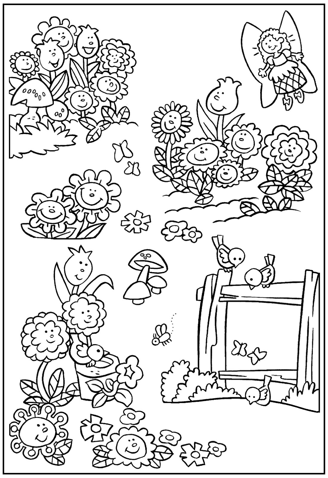 1098x1600 Simple Garden Coloring Pages