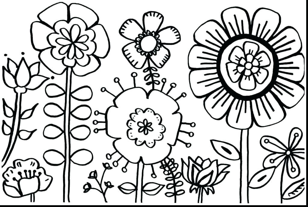 1024x689 Bunnies In The Flower Garden Coloring Page Flower Garden Coloring