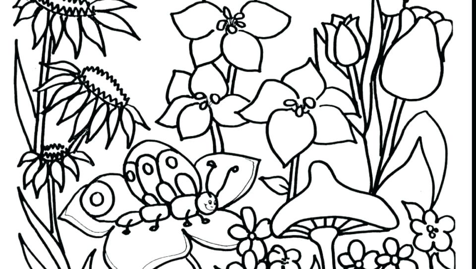 960x544 Coloring Pages Of Flowers Also Flower Garden Coloring Page Story