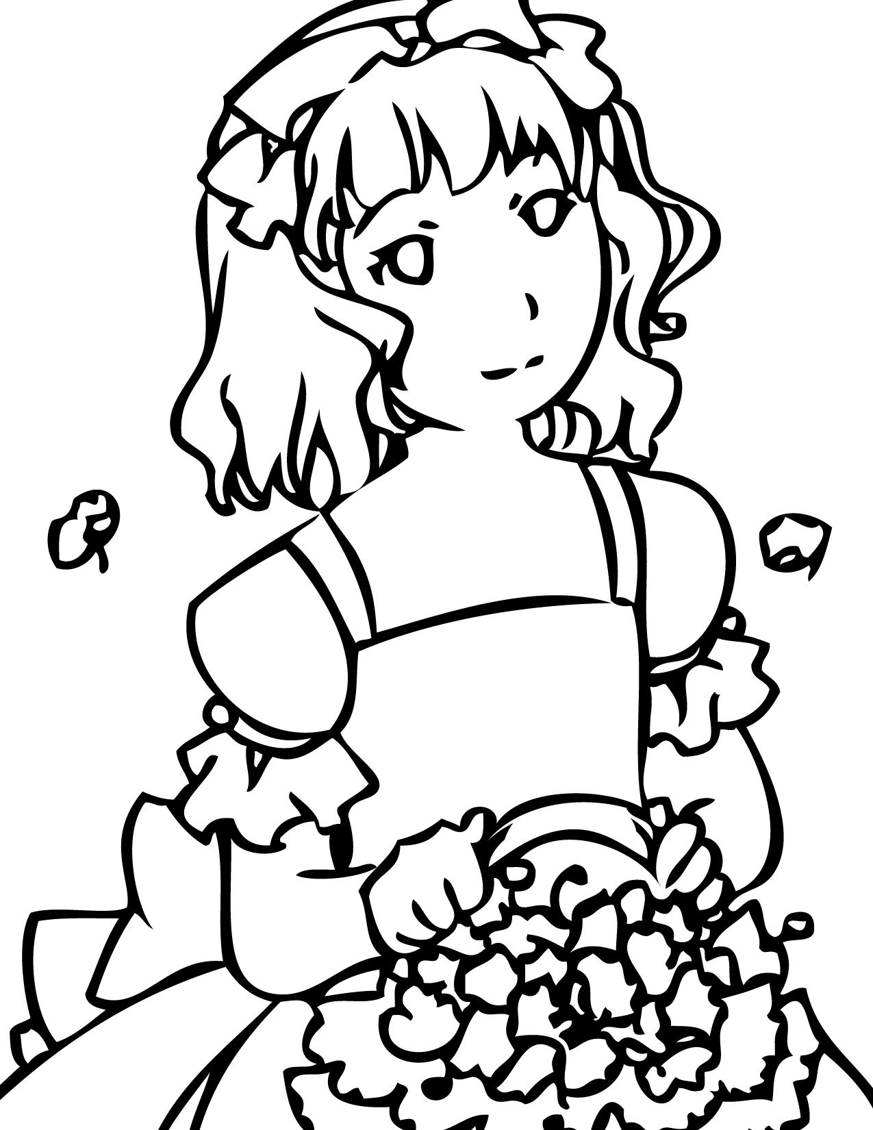 1275x1650 Flower Girl Coloring Pages Coloring Books, Book