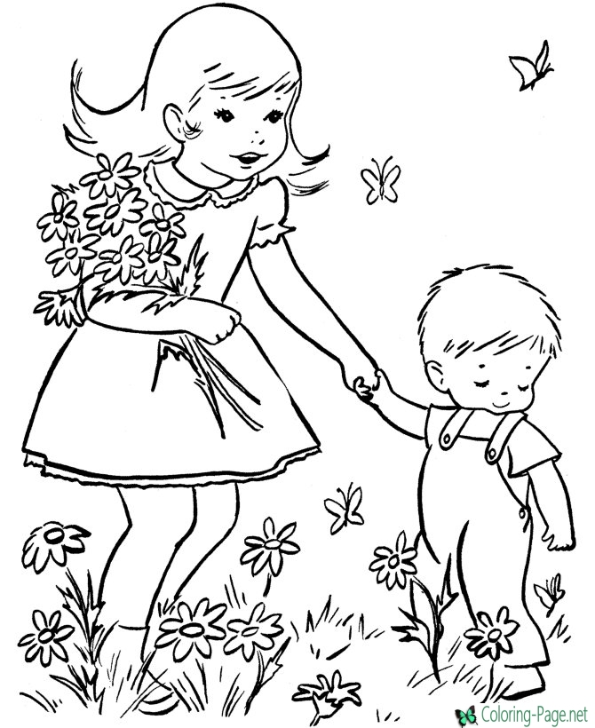 670x820 Flower Girl Spring Coloring Pages