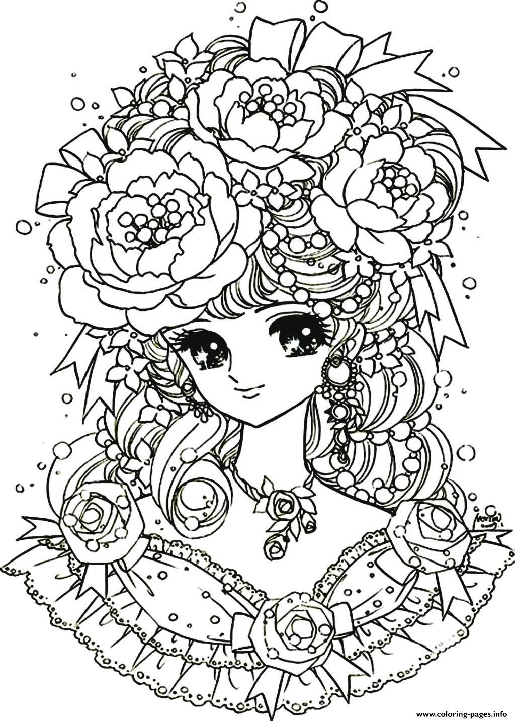 1024x1433 Adult Flower Coloring Pages Print Back To Childhood Manga Girl