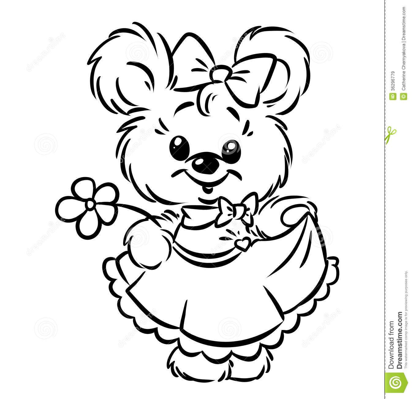 1345x1300 Royalty Free Stock Images Bear Girl Flower Coloring Pages Image