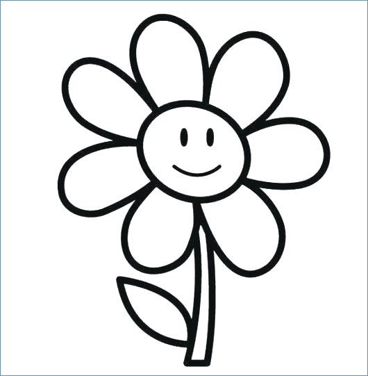 530x541 Simple Flower Coloring Pages Kids