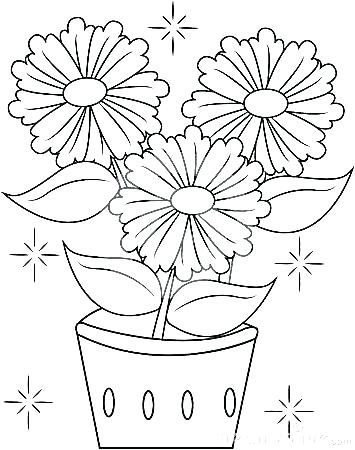 355x450 Color Page Flower Flower Pot Coloring Pages Flower Pot Coloring