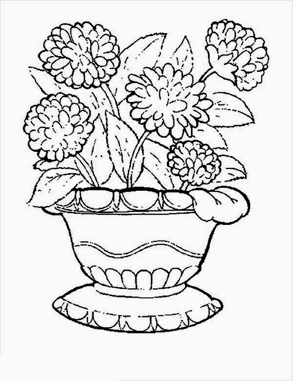 Flower In A Pot Coloring Page at GetDrawings.com | Free for ...