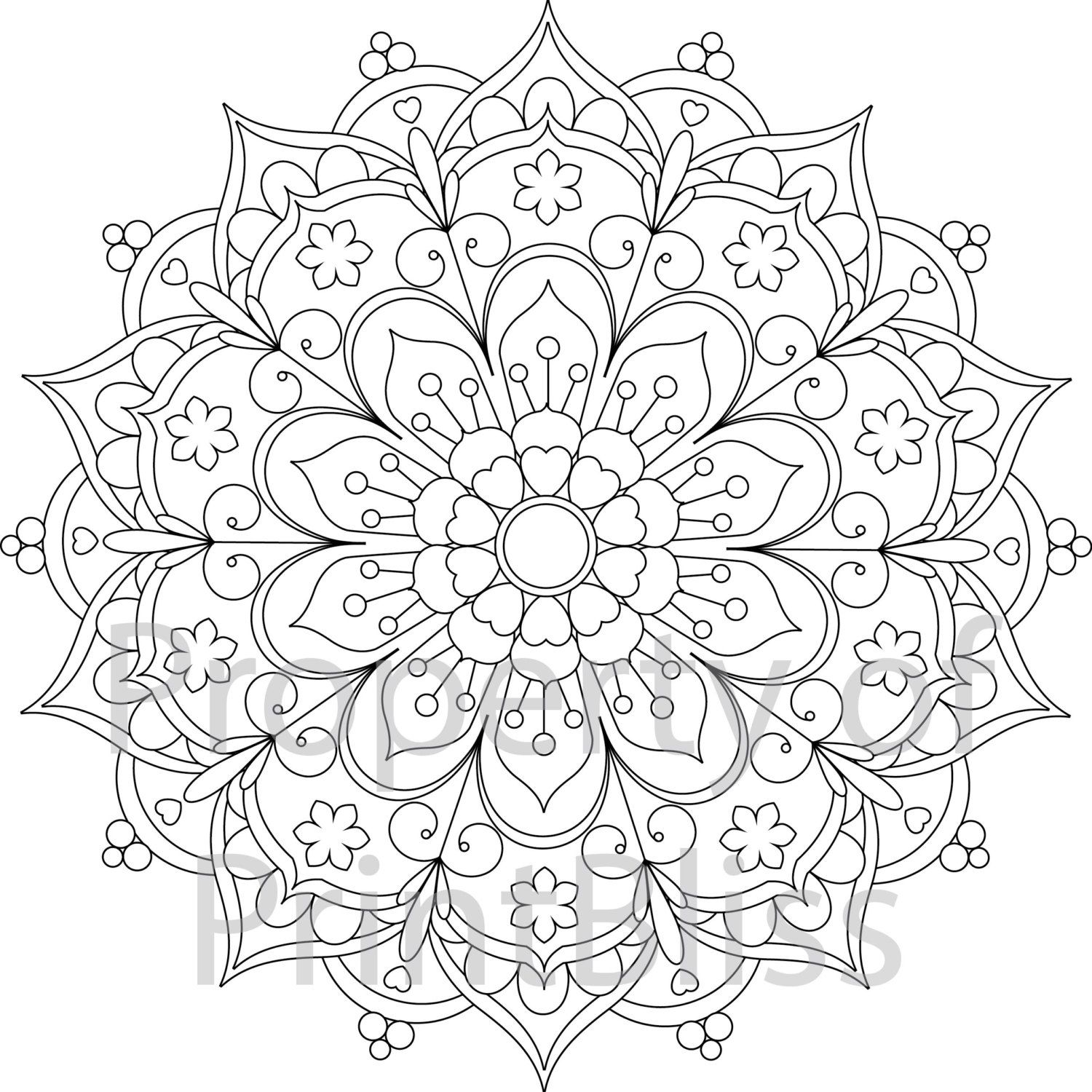 1500x1500 Flower Mandala Printable Coloring Page Mandala Printable