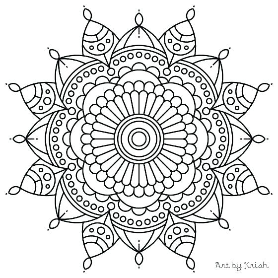 560x560 Flower Mandala Coloring Pages Symmetrical Mandala Coloring Pages