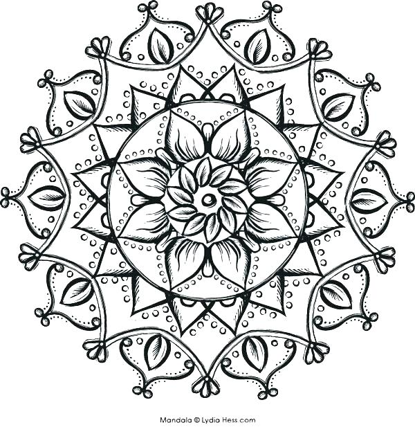 600x617 Intricate Mandala Coloring Pages Intricate Flower Coloring Pages