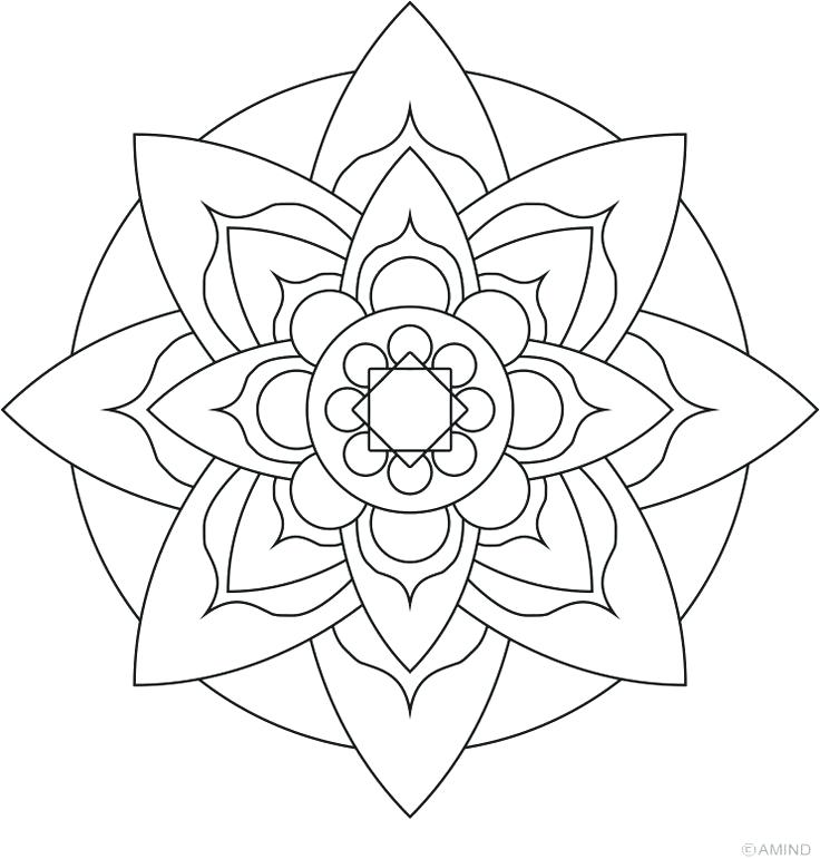 736x771 Adult Coloring Pages Easy Lotus Flower Mandala Coloring Pages Easy
