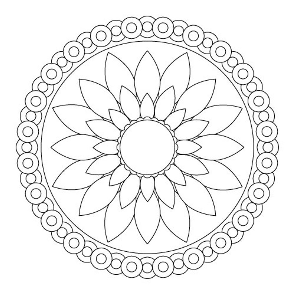 945x945 Cool Simple Flower Mandala Coloring Pages Free Coloring Pages