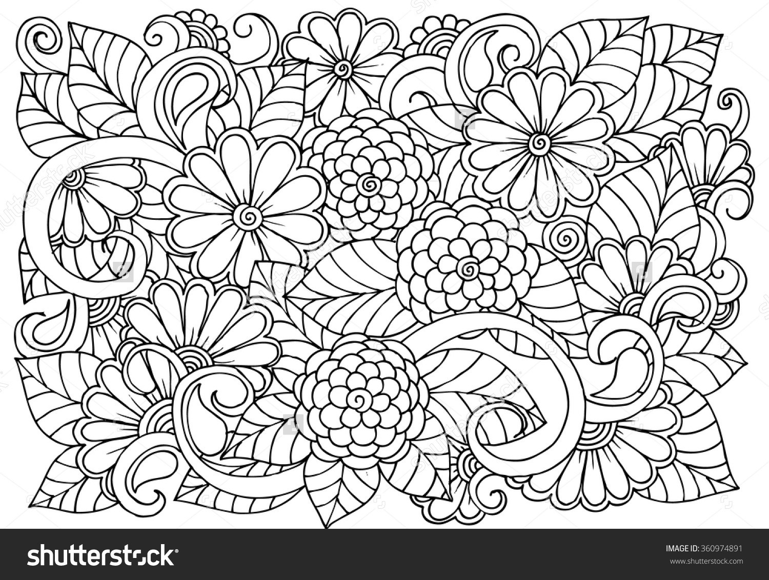 1500x1132 Flower Pattern Coloring Pages